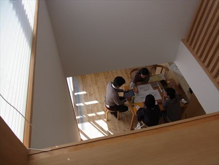 世田谷区「松原の家」、「松原の家2の」完成見学会の様子、吹き抜け