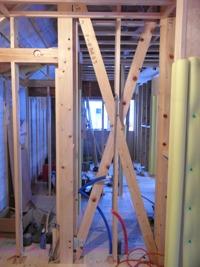 新設の構造壁(筋交い工事)