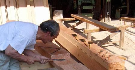 田中工務店も木材加工場風景