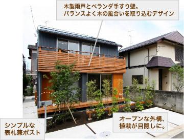 木製雨戸とベランダ手すり壁